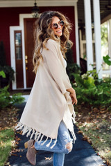 Tassel Cardigan Side View