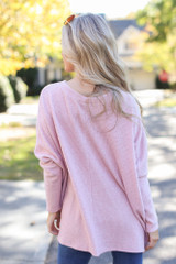 Oversized Brushed Knit Sweater in Pink Back View