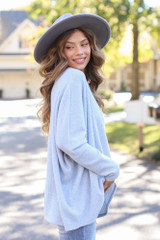Oversized Brushed Knit Sweater in Blue Side View