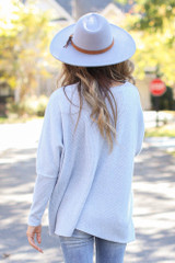 Oversized Brushed Knit Sweater in Blue Back View