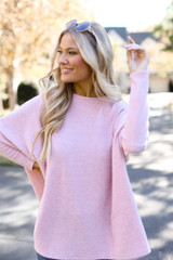 Oversized Brushed Knit Sweater in Pink Close Up View
