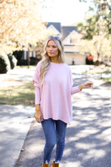 Oversized Brushed Knit Sweater in Pink Front View
