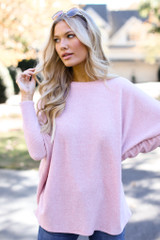 Oversized Brushed Knit Sweater in Pink