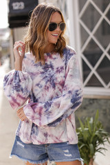 Pink - Oversized Tie-Dye Waffle Knit Top from Dress Up