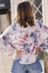 Oversized Tie-Dye Waffle Knit Top in Pink Back View