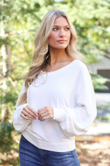 Ivory - Model wearing a Brushed Knit Top