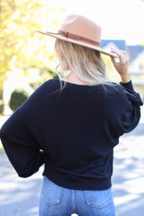 Brushed Knit Top in Black Back View