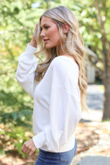 Brushed Knit Top in Ivory Side View