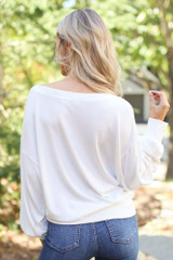 Brushed Knit Top in Ivory Back View