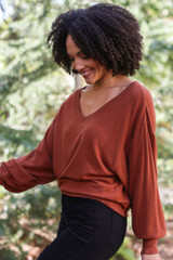 Brushed Knit Top in Camel Side View
