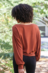 Brushed Knit Top in Camel Back View