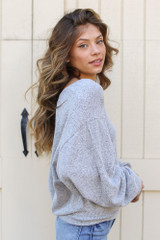 Brushed Knit Top in Heather Grey Side View