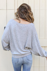 Brushed Knit Top in Heather Grey Back View