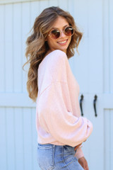 Brushed Knit Top in Blush Side View