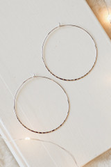 Silver - Close UP of Hammered Hoop Earrings