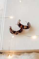 Leopard - Acrylic Hoop Earrings Side View