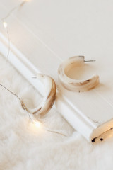 Taupe - Acrylic Hoop Earrings on a white background