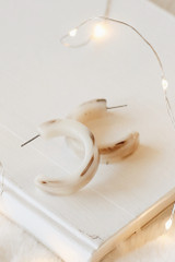 Taupe - Flat Lay of Acrylic Hoop Earrings on a white background