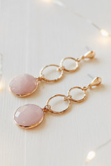 Blush - Gold Statement Drop Earrings Side View