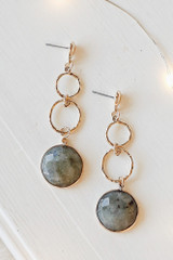 Grey - Close Up of Gold Statement Drop Earrings