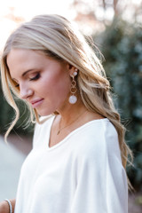 White - Gold Statement Drop Earrings