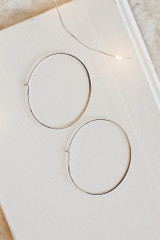 Silver - Flat Lay of Oval Hoop Earrings on a white background