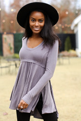 Charcoal - Ribbed Knit Tunic from Dress Up