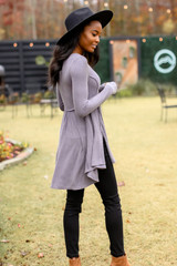 Ribbed Knit Tunic with a wide brim hat
