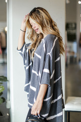 Oversized Tie-Dye Top in Charcoal Side View