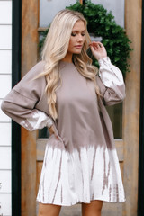 Taupe - Tie-Dye Pullover Dress