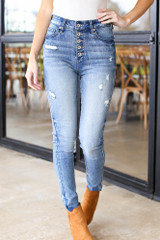Medium Wash - Distressed Skinny Jeans