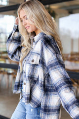 Oversized Flannel Shirt Jacket Side View