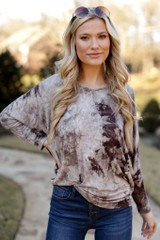 Mocha - Oversized Tie-Dye Top