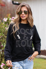 Black - Rock N Roll Graphic Pullover