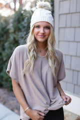 Mocha - Dress Up model wearing a Brushed Knit Knotted Top