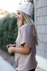 Brushed Knit Knotted Top in Mocha Side View