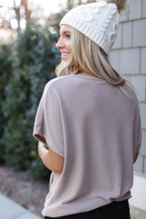 Brushed Knit Knotted Top in Mocha Back View
