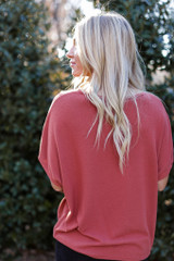 Brushed Knit Knotted Top in Rust Back View