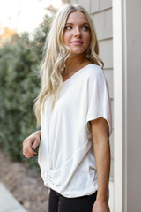 Brushed Knit Knotted Top in White Side View