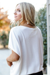 Brushed Knit Knotted Top in White Back View