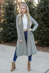 Black - Ribbed Knit Duster Cardigan from Dress Up