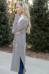 Ribbed Knit Duster Cardigan Side View
