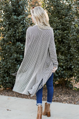 Ribbed Knit Duster Cardigan Back View