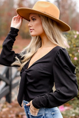 Puff Sleeve Tie-Front Top in Black Side View