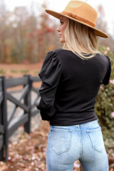 Puff Sleeve Tie-Front Top in Black Back View