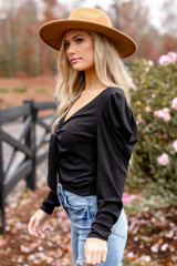 Puff Sleeve Tie-Front Top in Black Front View