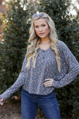 Dress Up model wearing a Floral Button Front Top