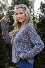 Denim - Floral Button Front Top from Dress Up