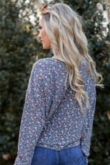 Floral Button Front Top Back View