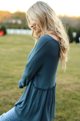 Waffle Knit Babydoll Top in Denim Side View